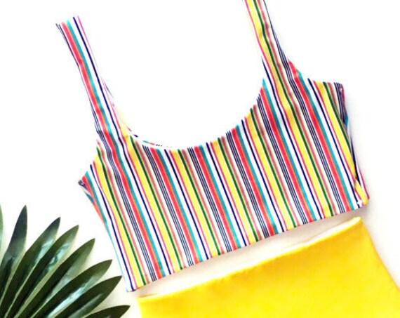 Scoop Neck Bikini Top | Stripe