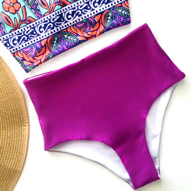 e45bc0c0a2 Purple High Waisted Bikini Bottoms | Etsy