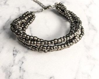 Metallic Grey Glass Beaded Bracelet, Edgy Jewelry, Adjustable Bracelet