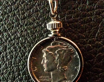 A real Silver US Mercury dime coin jewelry necklace with bezel, jump ring, silver plated chain 14 to 24 inch.