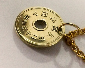 Japanese five yen coin necklace handmade .Brings Goodluck,fortune,love,reationships,friendship