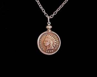 Copper Anniversary year 7 indian head pennies 1859 to 1909 coin's are over 100 years old with necklace. bezel and chain .