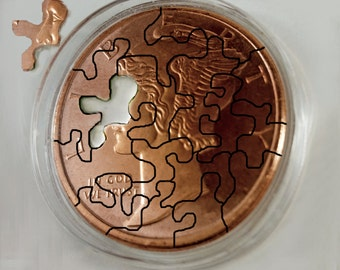 7th Anniversary gift Jigsaw puzzle handcut from a mercury head copper round.Good Gift