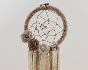 Cream Dream Catcher,Boho Bedroom Decor,Wedding Decoration,Handmade,Artificial Flowers,Pearls, Pink Ribbons,White Lace,Boho Wedding