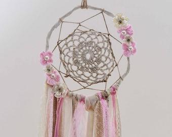 Wedding Decoration,Handmade,Artificial Flowers,Pearls,Boho Wedding,Wedding DreamCatcher,Pink Dream Catcher,Modern DreamCatcher,Boho Bedroom,