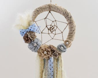 Baptism DreamCatcher,Baby Dream Catcher,Boho Bedroom,Wedding Decoration,Handmade,Artificial Flowers,Pearls,Boho Wedding,Blue Dream Catcher