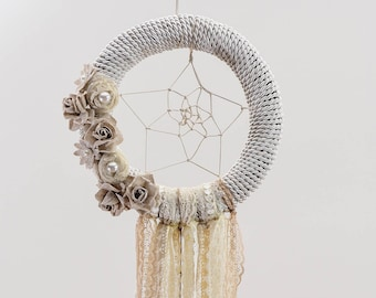 Modern Dream Catcher,Boho Bedroom Decor,Wedding Decoration,Handmade,Artificial Flowers,Pearls, Pink Ribbons,White Lace,Boho Wedding