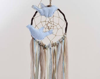 Blue Dream Catcher,Baby Dream Catcher,Boho Bedroom,Wedding Decoration,Handmade,Artificial Flowers,Pearls,Boho Wedding,Modern Dream Catcher