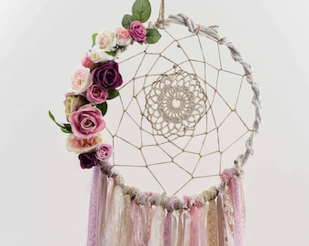 Boho Bedroom,Wedding Decoration,Handmade,Artificial Flowers,Pearls,Boho Wedding,Wedding DreamCatcher,Pink Dream Catcher,Modern Dream Catcher
