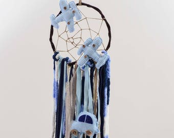 Baby Dream Catcher,Modern Dream Catcher,Boho Bedroom,Wedding Decoration,Handmade,Artificial Flowers,Pearls,Boho Wedding,Blue Dream Catcher