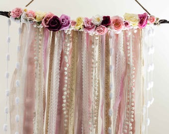 Wedding Decoration,Handmade,Artificial Flowers,Pearls,Boho Wedding,Wedding DreamCatcher,Pink Dream Catcher,Modern Dream Catcher,Boho Bedroom