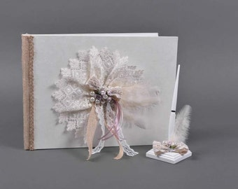 Decorated Guestbook Set- Lace&Pearls