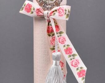 Decorated Cylinder- Floral Rhinstone,FloralRibbon&Tuft (20x3.5)