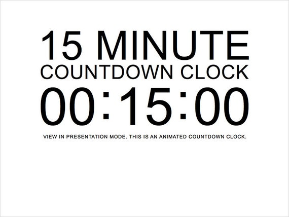 15 minute white countdown clock presentation powerpoint slide etsy