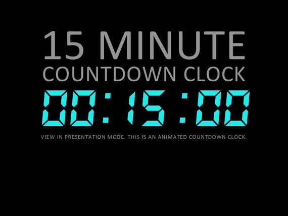 15 Minute Digital Countdown Clock Presentation PowerPoint Etsy