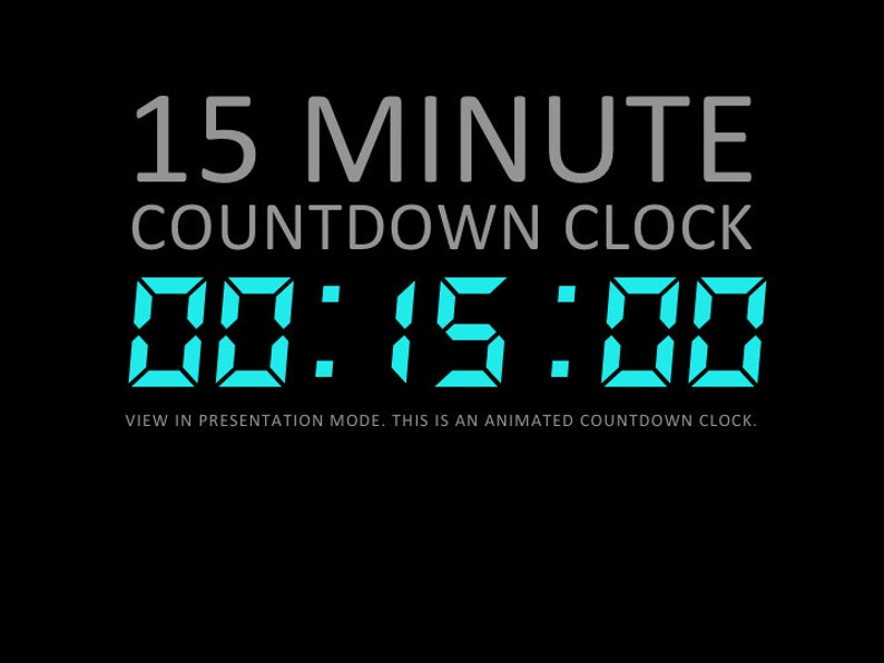 15 Minute Digital Countdown Clock Presentation PowerPoint Slide Template