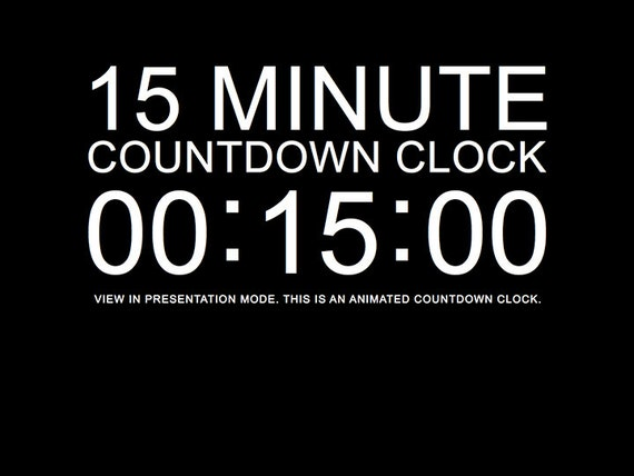 15 minute black countdown clock presentation powerpoint slide etsy