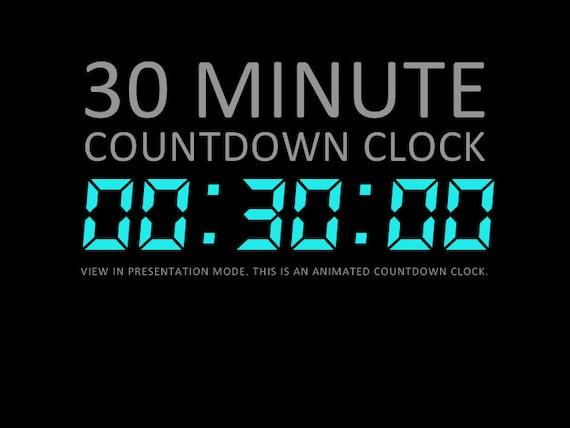 30 Minute Digital Countdown Clock Presentation PowerPoint Etsy