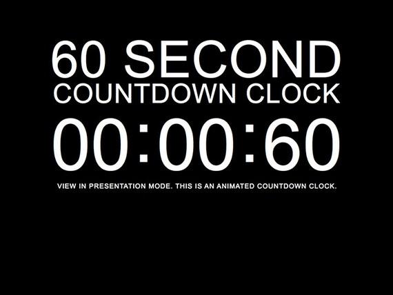 60 Second Black Countdown Clock Presentation PowerPoint Slide Etsy