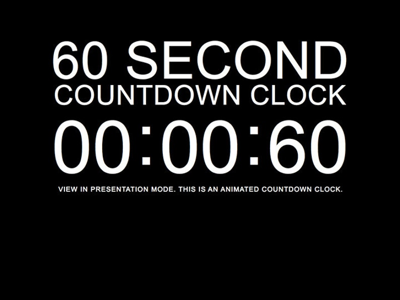 60 Second Black Countdown Clock Presentation PowerPoint Slide Template
