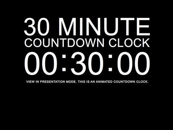 30 minute black countdown clock presentation powerpoint slide etsy