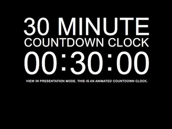 30 Minute Black Countdown Clock Presentation PowerPoint Slide Etsy