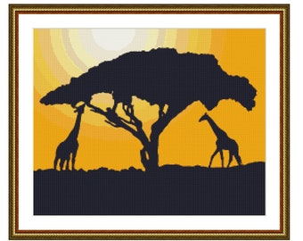 Giraffe Silhouette at Sunset Counted Cross Stitch Pattern / Chart, Instant Digital Download  (AP136)