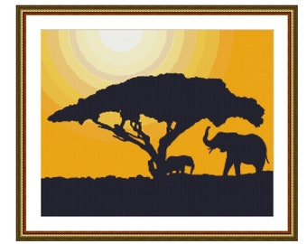 Elephant Silhouette at Sunset Counted Cross Stitch Pattern / Chart, Instant Digital Download  (AP112)