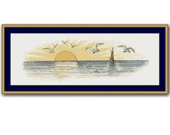 Sunset over the Sea Counted Cross Stitch Pattern / Chart, Sailboat Instant Digital Download, Cottage Decor (AP401)
