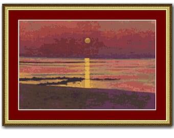 Sunset Counted Cross Stitch Pattern / Chart, Felix Vallotton, Instant Digital Download  (AP299)