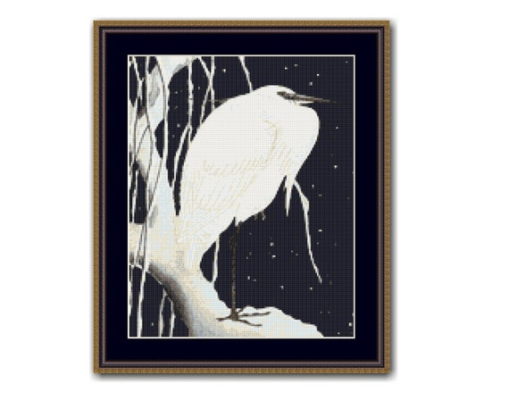 Japanese Ohara Shoson Koson Egret on Branch in Snow Counted Cross Stitch Pattern