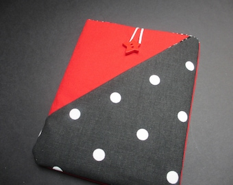 "Red case with black spot pocket for 6"" tablet, sleeve for Kindle/ Kobo, Fabric sleeve for E book, Nook pouch, Amazon tablet book, dotty"