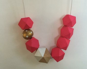 Wooden bead necklace // Hot pink // geometric wooden necklace // hand painted in neon pink white and gold