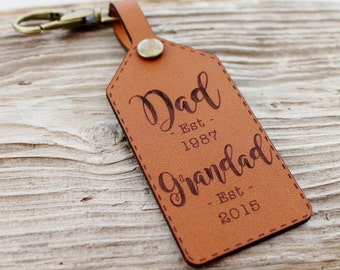 New Grandad Keychain Leather Gift Established Customized Grandpa Personalised Keyring Fathers Day
