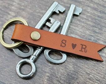Custom Leather Keychain Couple Personalized Initial Keyring - 3 Year Anniversary Housewarming Key Fob