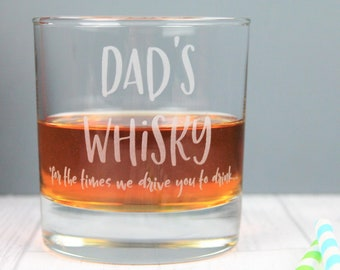 Dads Whisky Funny Glass Tumbler For Dad Birthday Gift Idea Fathers Day Whiskey