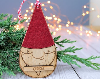 nordic christmas bauble gnome tomte santa personalised wooden decoration rustic decor - Nordic Christmas Tree Decorations