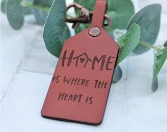 New House Gift - Home Is Where the Heart is - Leather Keyring