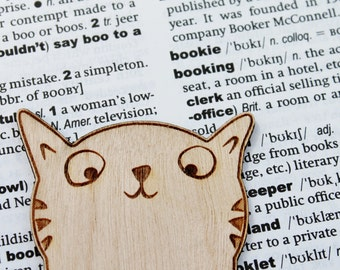 Wooden Cat Bookmark Personalised Engraved Book Lover Literary Gift Bookish Birthday