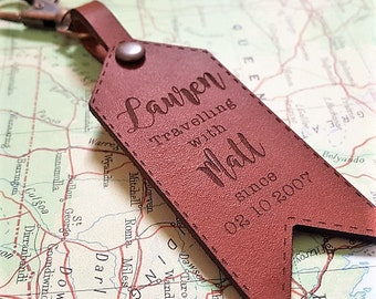 Personalized Luggage Tag - Personalised Leather Keychain Keyring - Travel Gift, Wedding Gift, Traveller Gift, Anniversary Gift