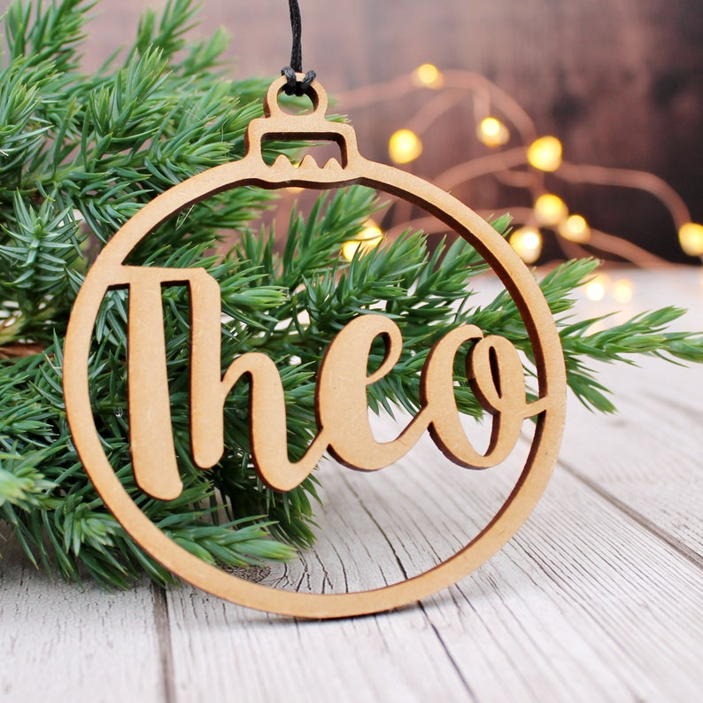 Customised Name Bauble Wooden Christmas Tree Decoration Cut image 0