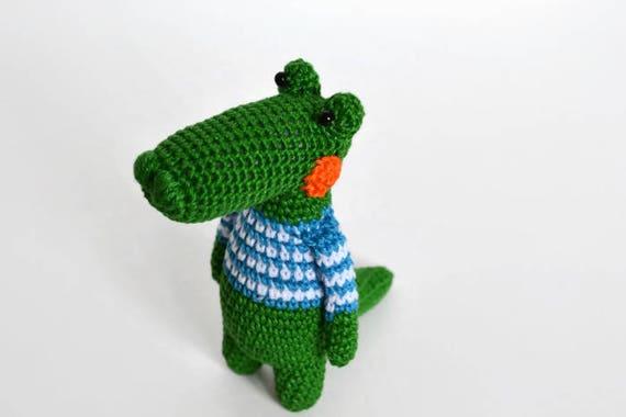 Alligator Crochet Toy Stuffed Crocodile Crochet Animal Green Etsy