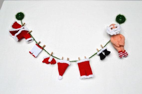 Weihnachten Häkeln Girlande Santa Claus Weihnachten Dekoration Etsy