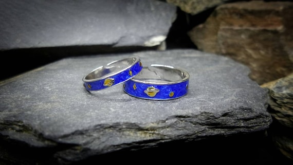 HIS & HERS Matching Rings - Moon Stars Planets, Bl