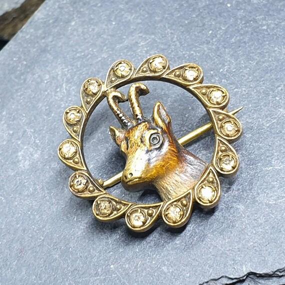 Pinchbeck or Brass Springbok Deer Paste Stones STAG BROOCH