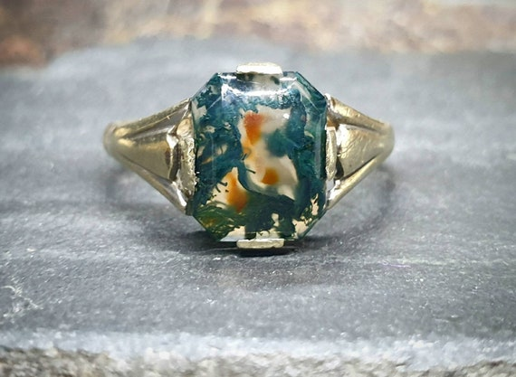Antique 9ct Gold MOSS AGATE Ring - Dendritic - Siz