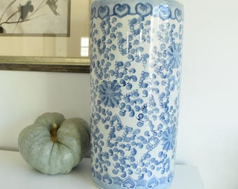 Chinoiserie Umbrella Holder   Vintage Blue And White Porcelain    Chinoiserie Umbrella Stand   Blue And White Umbrella Holder Stand