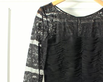 Oscar de la Renta Studio 100% Silk Black Lace Dress - Sz 8