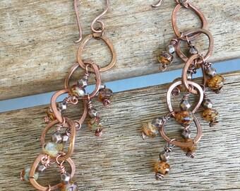 Almond Toffee Red copper Handmade Earrings