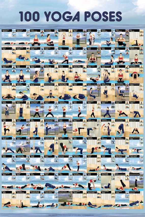 Yoga Poster 100 Ashtanga Yoga Poses Etsy